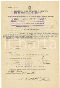 1943 WW2 CARBONARA DI PO Sospensione sussidio giornaliero Dina CAPPI CHIAVELLI