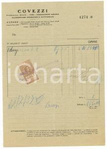1937 AOI ASMARA Ditta COVEZZI Vini, formaggio e alimentari *Fattura con bollo