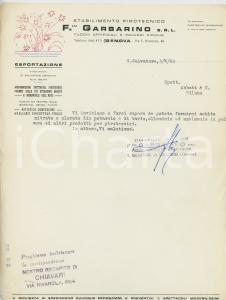 1964 GENOVA SAN SALVATORE Stabilimento pirotecnico FRATELLI GARBARINO Lettera