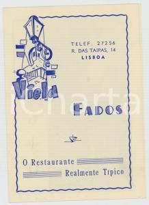 1950 ca LISBOA Restaurante VIELA FADOS Realmente tipico *Dépliant pubblicitario