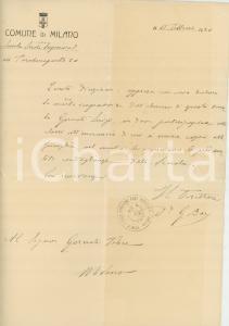 1920 MILANO FORO BUONAPARTE Scuola serale - Morte dell'alunno Luigi GORNATI