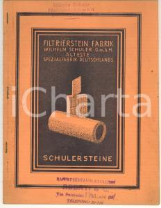 1930 ca DEUTSCHLAND Wilhelm SCHULER Filtrierstein Fabrik *Libretto pubbliciario