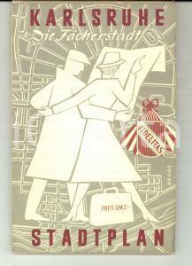 1960 ca KARLSRUHE (GERMANY) Mappa della città - Stadtplan *VINTAGE