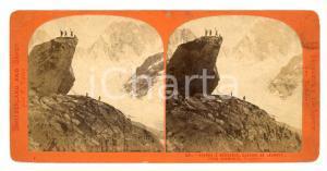 1890 CHAMONIX (FR) Pierre à BERANGER Glacier de LECHAUD *Stereoscopica LAMY