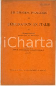 1912 Giuseppe PRATO Les derniers problèmes de l'immigration en Italie *20 pp.
