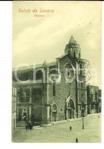 1920 LUCERA (FG) Veduta del Duomo *Cartolina postale ANIMATA FP VG