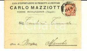 1914 TORRE ANNUNZIATA Ditta Carlo MAZZIOTTI Biglietto con listino pasta