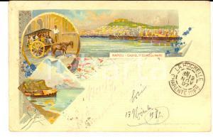 1897 NAPOLI Vedutine Castel SANT'ELMO - Calesse *Cartolina ILLUSTRATA FP VG