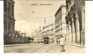 1920 ca NAPOLI Piazza CAVOUR *Cartolina VINTAGE ANIMATA tram FP NV