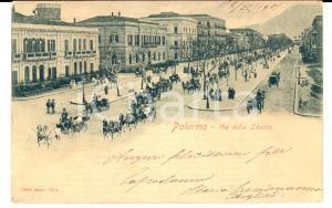 1902 PALERMO Via della LIBERTA' con carrozze e passanti *Cartolina FP VG