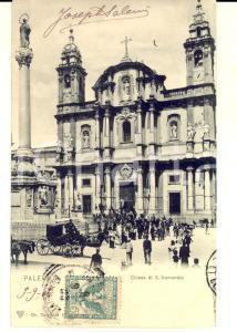 1906 PALERMO Chiesa di San Domenico *Cartolina ANIMATISSIMA carrozza FP VG