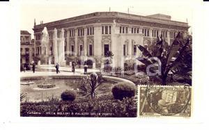 1934 CATANIA Villa BELLINI e Palazzo delle Poste *Cartolina ANIMATA FP VG