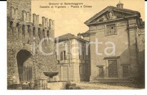 1914 VIGOLENO Veduta della piazza con la chiesa presso il castellov *Cartolina