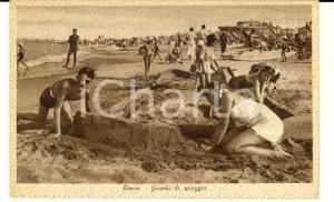 1930 ca RIMINI Giochi di ragazzi in spiaggia *Cartolina postale FP NV