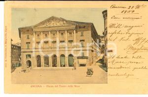 1900 ANCONA Teatro delle MUSE con il Caffè DORICO *Cartolina ANIMATA FP VG