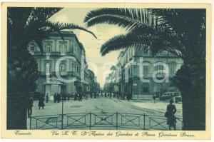 1933 TARANTO Via D'AQUINO dai giardini di piazza Giordano BRUNO *Cartolina