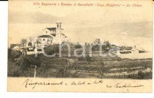 1900 ca DAGNENTE (NO) Panorama con la tomba di CAVALLOTTI - Chiesa *Cartolina FP