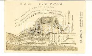 1930 ca AMALFI Mappa della costa *Cartolina postale ILLUSTRATA FP NV