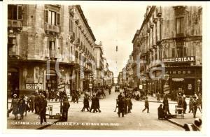 1938 CATANIA I Quattro Canti e via A. DI SAN GIULIANO *Cartolina ANIMATA FP VG