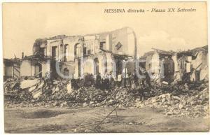 1908 MESSINA TERREMOTO Piazza XX Settembre distrutta *Cartolina ANIMATA FP
