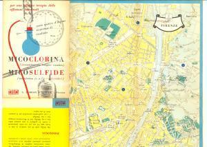 1956 Farmaceutica ZAMBON - MICOCLORINA *Mappa FIRENZE pubblicitaria pieghevole