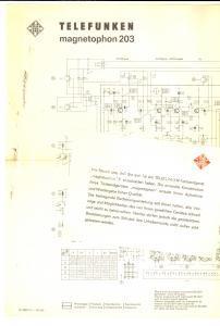 1960 ca TELEFUNKEN Magnetophon 203 - Schema apparecchio