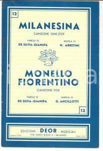 1939 DE SILVA-GIANIPA Milanesina - Monello fiorentino *Canzoni ed. DEOR MILANO