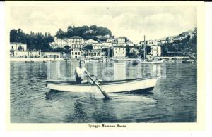 1930 ca NUMANA BASSA (AN) Veduta della spiaggia *Cartolina ANIMATA canoa FP NV