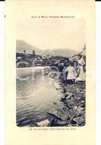 1916 ALA DI STURA (TO) Donne in riva al lago d'ASPROMONTE *Cartolina RARA FP VG