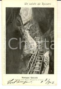 1903 RECOARO TERME (VI) Veduta della MONTAGNA SPACCATA *Cartolina postale FP VG