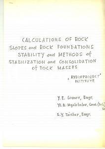 1970 ca LOMOV - MGALOBELOV - TAICHER Calcoli stabilità della spalla di una diga