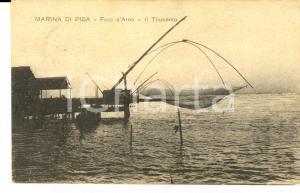 1917 MARINA DI PISA Foce dell'ARNO - Tramonto sulle reti da pesca *Cartolina