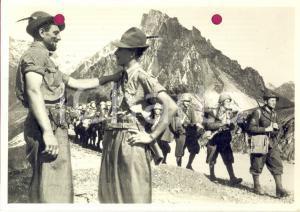 1940 WW2 Una colonna di ALPINI in marcia *Foto per cartolina ditta Paolo MARZARI
