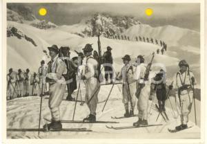 1940 WW2 Marcia di ALPINI sugli sci *Foto per cartolina ditta Paolo MARZARI