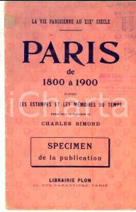 1920 ca PARIS LIBRAIRIE PLON - Paris de 1800 à 1900 - Specimen ILLUSTRE' 16 pp.