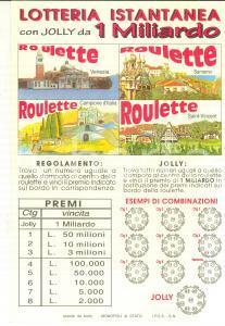1996 MONOPOLI DI STATO Lotteria istantanea jolly 1 miliardo *Manifestino 20x30