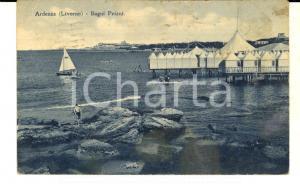 1947 LIVORNO ARDENZA - Veduta dei BAGNI PEIANI *Cartolina ANIMATA barca FP VG