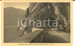 1920 ca VARENNA Galleria strada per BELLANO *Cartolina ANIMATA auto e calesse