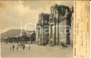1900 ca PALERMO Porta FELICE e Foro Italico *Cartolina ANIMATA FP VG
