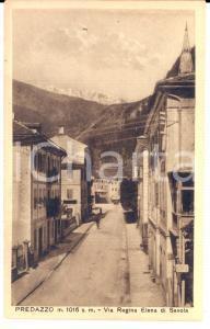 1930 ca PREDAZZO (TN) Via Regina Elena di Savoia *Cartolina ANIMATA FP NV