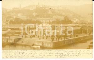 1901 GENOVA Veduta del ponte FEDERICO GUGLIELMO *Cartolina ANIMATA FP VG