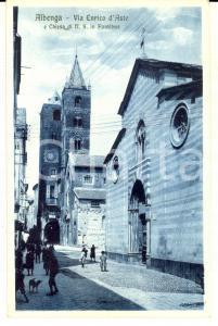 1920 ca ALBENGA Via ENRICO D'ASTE e chiesa N. S. in Fontibus *Cartolina ANIMATA