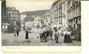 1915 ca NAPOLI La TORRETTA *Cartolina postale ANIMATA calessi FP NV