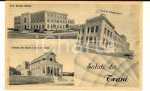 1940 ca TRANI Vedutine con chiesa SACRO CUORE e scuole *Cartolina FP NV
