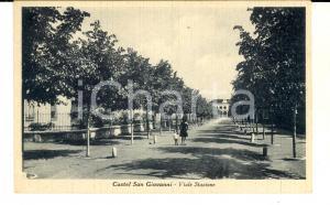 1936 CASTEL SAN GIOVANNI (PC) Viale Stazione *Cartolina ANIMATA bambini FP NV