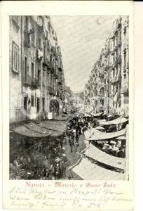 1903 NAPOLI Mercato a Basso Porto *Cartolina postale ANIMATISSIMA FP VG