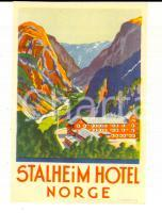 1940 ca NORGE STALHEIM Hotel Etichetta pubblicitaria VINTAGE 8x13 cm