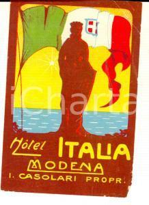 1930 ca MODENA Hotel ITALIA Proprietario CASOLARI *Etichetta pubblicitaria 9x11