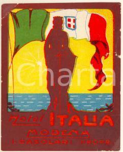 1930 ca MODENA Hotel ITALIA Proprietario CASOLARI *Etichetta pubblicitaria 7x8