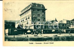 1931 VARAZZE (SV) Veduta del GRAND HOTEL sulla spiaggia *Cartolina FP VG